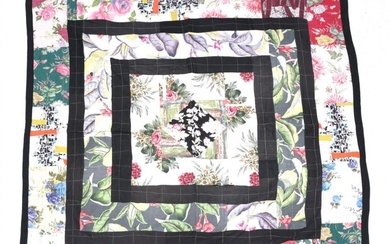 Circa 1940s Patchwork, worked in black frames with a central...