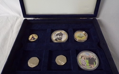 Collectors coins in box. (6 Coins) 2 collectable 50 pence pi...