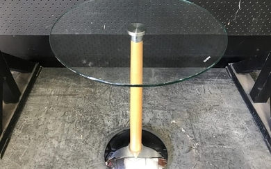 Contemporary Side Table with Tempered Glass Top and Chrome Base (H:63 D:43cm)