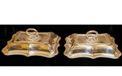 ELKINGTON, A PAIR OF SILVER PLATED ENTREE DISHES Scalloped f...