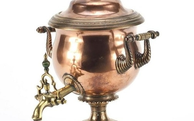 Early 19th century copper and brass samovar with