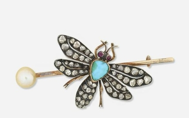 Edwardian gem-set insect brooch