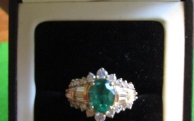 Emerald and Diamond Ring Mounted on 14 Carat Gold