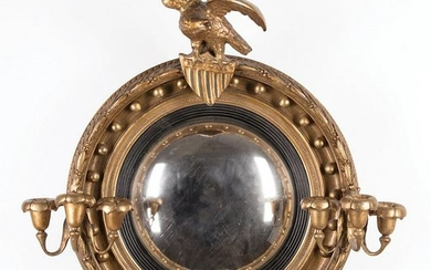 English Carved and Gilded Convex Mirror