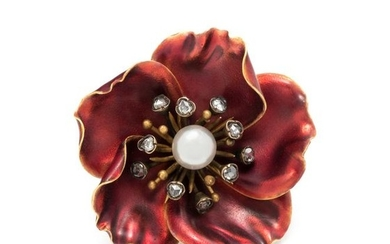 FRENCH, ANTIQUE, PEARL, DIAMOND AND ENAMEL FLOWER
