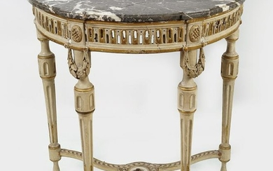 FRENCH PAINTED AND PARCEL GILT CONSOLE TABLE