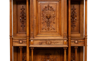 FRENCH RENAISSANCE-REVIVAL CARVED WALNUT MARBLE-INSET-RESERVE DISPLAY WALL CABINET, 19TH CENTURY