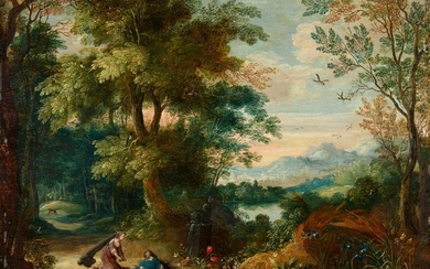 Flemish School 17th century - Landscape with Pyramus and Thisbe