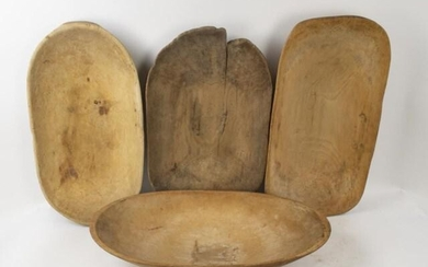 Four Carved Wood Primitive Dough Bowls