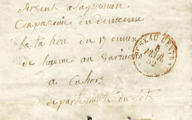 France 1852 - Very rare 10 centimes bistre on letter with military rate, with the red stamp of Paris on the front - Yvert 1