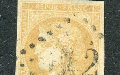 France 1870/1871 - Superb & rare lemon yellow No. 43B, signed Calves