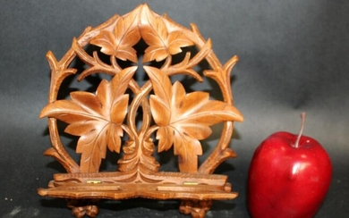 French Black Forest pierce carved book stand