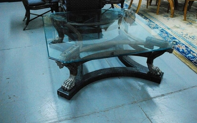 French Empire Style Glass Top Coffee Table