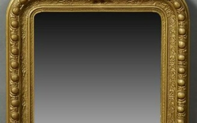 French Gilt and Gesso Overmantel Mirror, 19th c., with