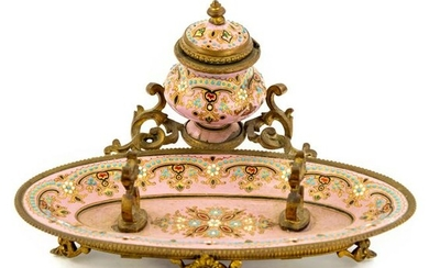 French Pink Jeweled Enamel Bronze Pen Rest Inkwell