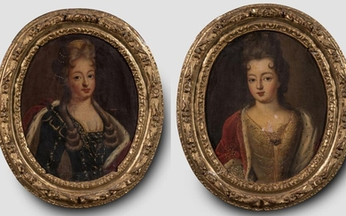 """French school early 18th century - """"Pair of portraits of..."""