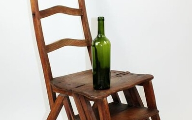 French walnut folding library chair with ladder