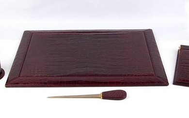 GUCCI DESK SET Late 60s/Early 70s 'Ring' Marine Crocodile skin...