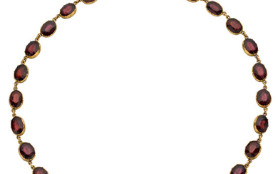 Garnet, Gold Necklace The necklace is composed of rhodolite...