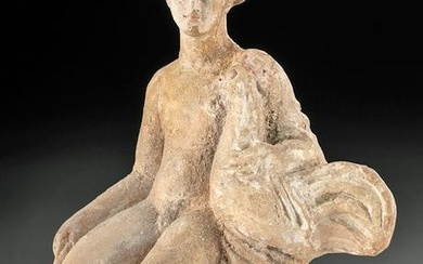 Greek Hellenistic Pottery Seated Boy w/ Rooster