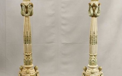 HAND PAINTED WHITE AND GREEN PEDESTALS PAIR