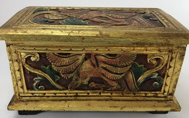 Hand Carved Hand Painted Gilt Box Phoenix Motif