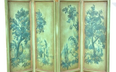 Hand Painted Wooden Screen in the French Taste