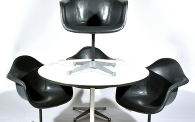 Herman Miller Round Table & 4 Swivel Armchairs.