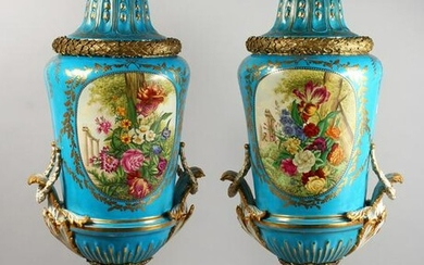 IN THE STYLE OF SEVRES - A LARGE PAIR OF PORCELAIN