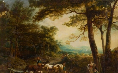 ITALIAN SCHOOL (18TH CENTURY) COUNTRY LANDSCAPE WITH PEASANT AND HIS STOCK