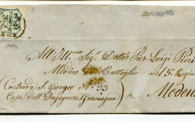 Italian Ancient States - Parma 1859 - 20 cents light blue isolated on letter - Sassone 15