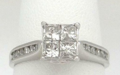 LADIES 14K WHITE GOLD 1.00ct DIAMOND INVISIBLE SET