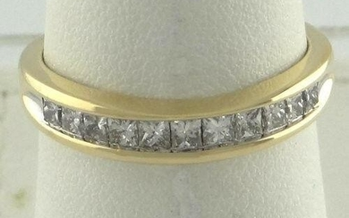 LADIES 14K YELLOW GOLD 1/2ct 11 PRINCESS CHANNEL SET