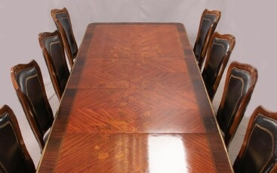 """LOUIS XV STYLE KINGWOOD AND GILT BRONZE DINING TABLE & 14 CHAIRS, 15 PCS, H 31"""", W 47"""" L 84"""", (TABLE)"""