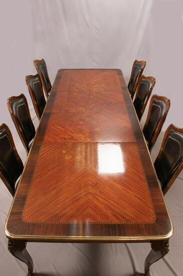LOUIS XV STYLE KINGWOOD DINING TABLE & CHAIRS