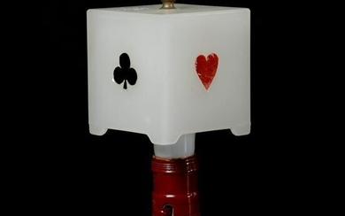 Lamp, Opaque Shade with Playing Cards