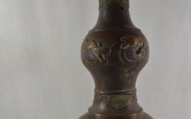 Large antique Chinese bronze carving dragon lamp