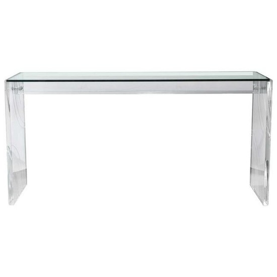 Lucite Glass Top Mid-Century Modern Console Table