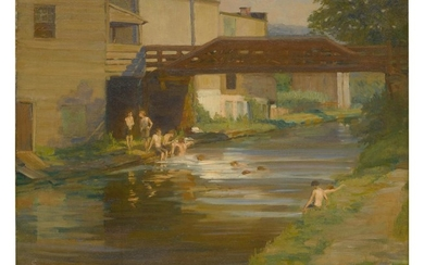 MARY SMYTH PERKINS | BOYS BATHING IN THE CANAL, NEW HOPE