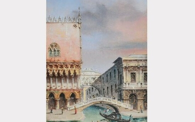 "Marco Grubacs ""Gondolier on the Grand Canal"" oil on"