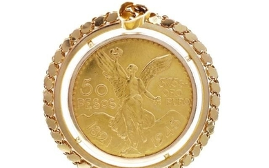 Mexican 50 Pesos gold coin pendant in a 18ct yellow gold Ale...