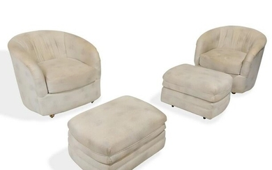 Mid Century Tub Chairs and Ottomans - Pair