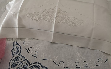 Museum !! Pure linen sheet with Burano di Venezia embroidery completely handmade. WHITE - Linen - After 2000