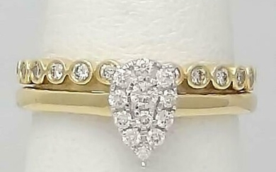NEW 10k YELLOW GOLD .50ct PEAR SHAPE DIAMOND ENGAGEMENT