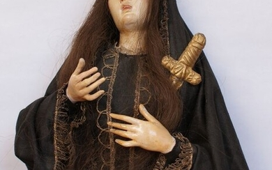 Our Lady of Sorrows - 60 cm - Silk, Terracotta - Second half 19th century