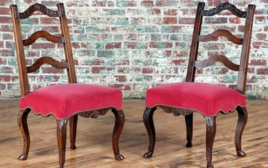 PAIR FRENCH CARVED MAHOGANY CHAIRS C. 1880