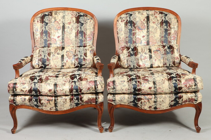 PAIR MODIFIED LOUIS XV STYLE CARVED AND STRIPED UPHOLSTERED OPEN-ARM...