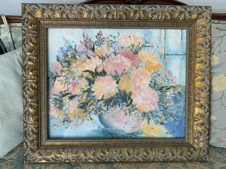 PINK FLORAL STILL LIFE ORIG OIL PAINTING NICOLLS