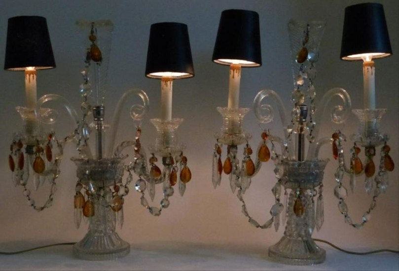 Pair Of Crystal Girondole Table Lamps