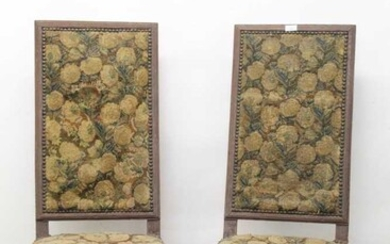 Pair of 17th / 18th century oak high back chairs with needlework upholstered seats and backs